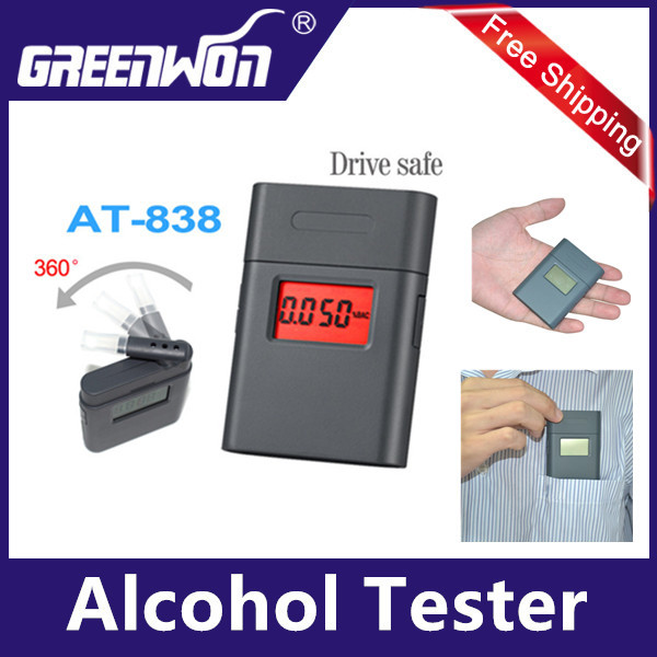 Free Shipping Petent alcohol tester alcometer AT-838 -Patent digital alcohol tester with 5 pcs 360 degree rotating mouthpiece(China (Mainland))