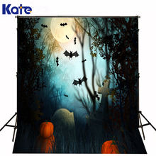 KATE theme happy halloween photographic background bat tombstone cross trick or treat pumpkins backdrops photo for studio