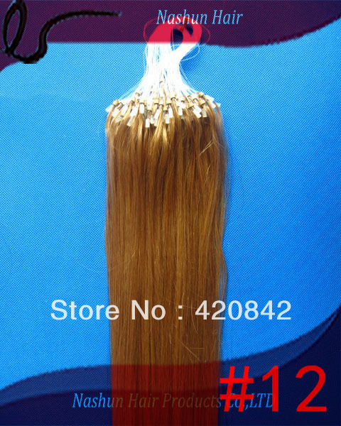 """Indian Remy Micro Ring Hair Extensions 10""""-28"""" #12 0.5g/strand 100s/pack micro ring-loop Human hair"""