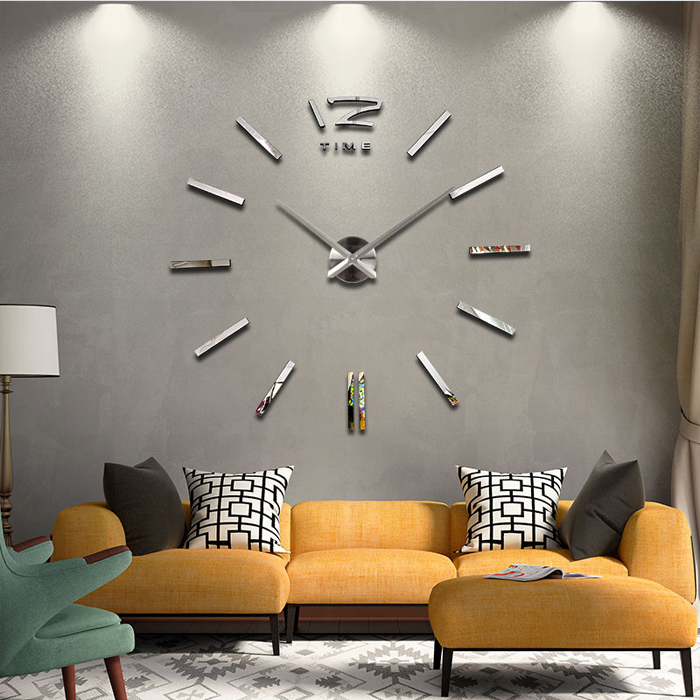 2015 new arrival 3d home decor quartz diy wall clock clocks horloge watch living room metal Acrylic mirror 20 inch free shipping(China (Mainland))