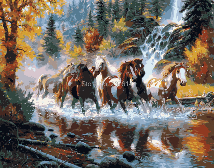 Frameless DIY oil painting numbers kit horse Gunma River wedding gifts 40 50 kits unique gift - bellehouse store