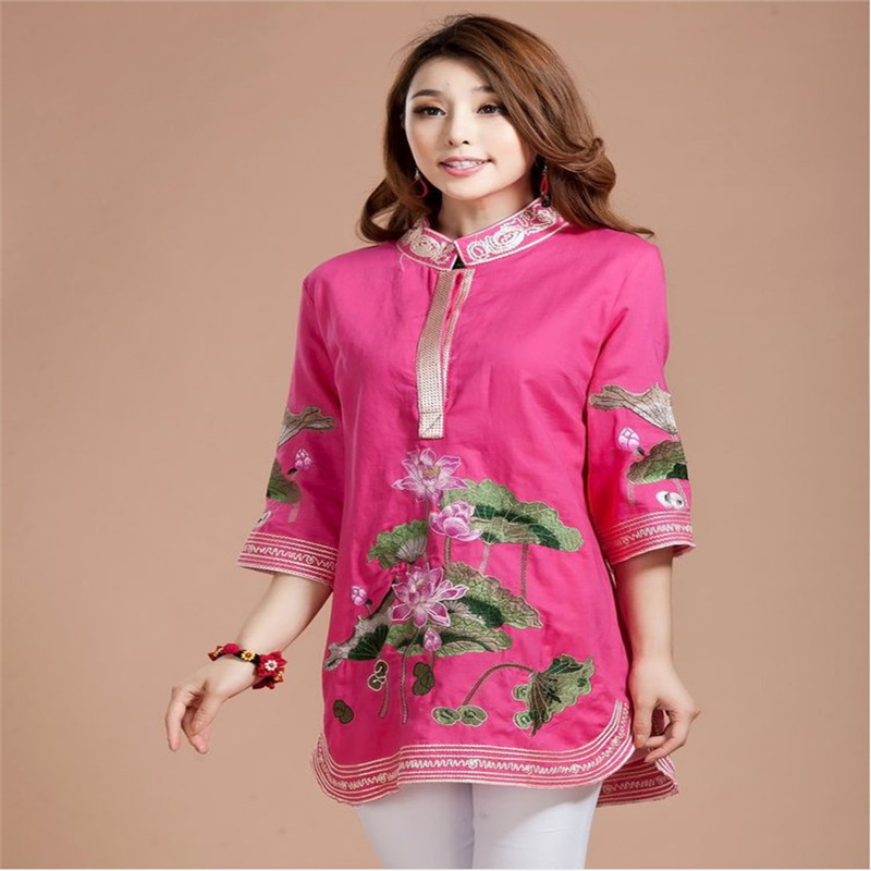 Lotus Embroidery Blouse Women Half Sleeve Summer 2016 Cotton Cheongsam Tops Mandarin Collar Dress Plus Size Long Shirts - Chinese Culture Village store