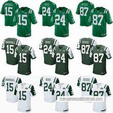 2016 elite Men New York Jets #15 brandon marshall #24 Darrelle Revis 87 Eric Decker #22 Matt Forte Color Rush Green white(China (Mainland))