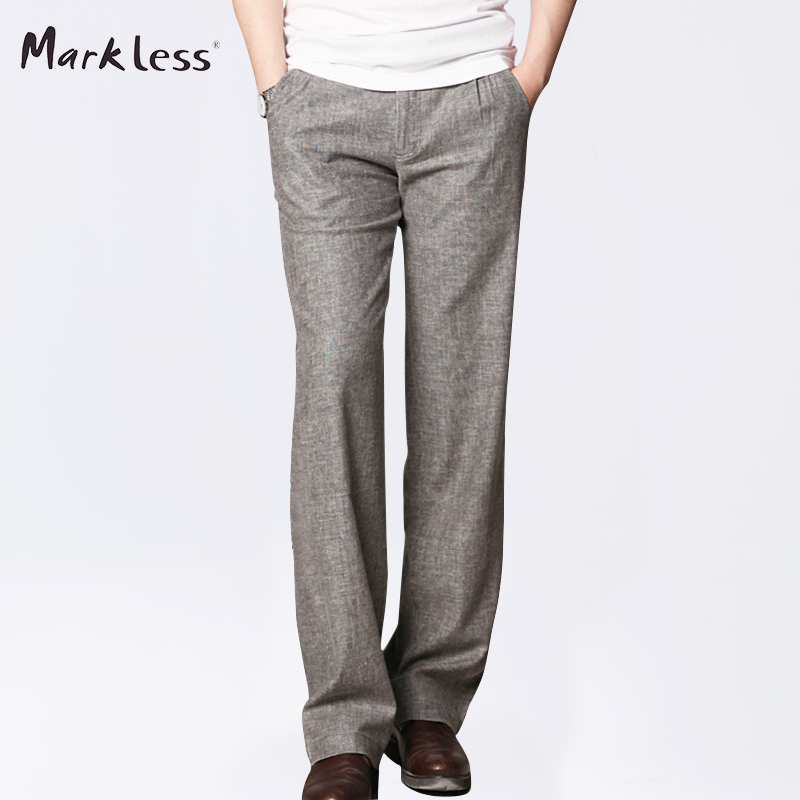 Markless Summer Thin Linen Men Pants Male Commercial Loose Casual Business Trousers Men's Clothing Straight Fluid Man Pants(China (Mainland))