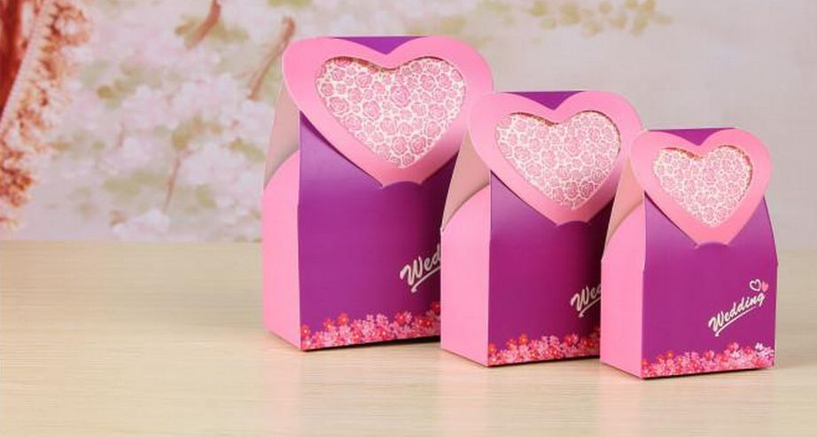 100 pcs Purple Euramerican Heart Style Candy Boxes Gift Box Wedding Favors 1st Wedding Anniversary Party Supplies(China (Mainland))