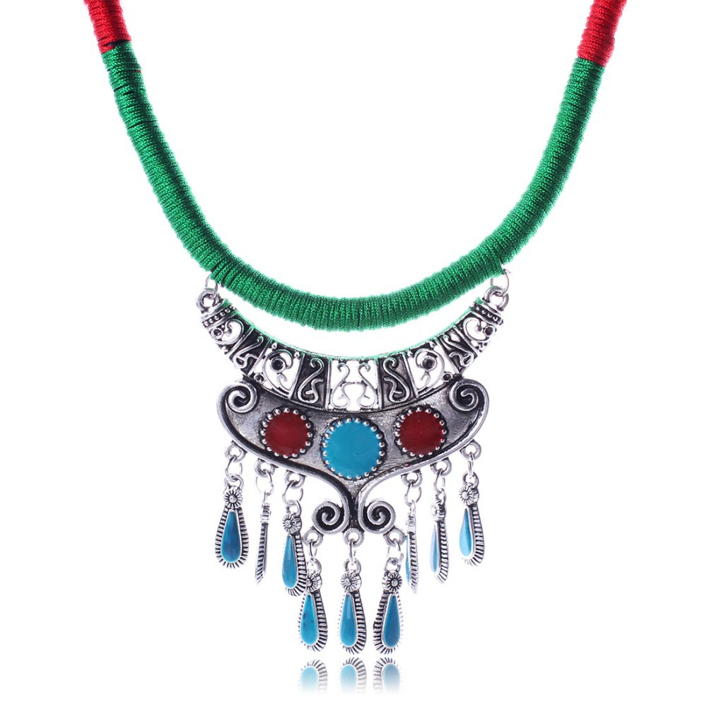 New Tibetan Silver Pendant Necklace Choker Turquoise Charm Cord Factory Price Handmade Jewlery N2658