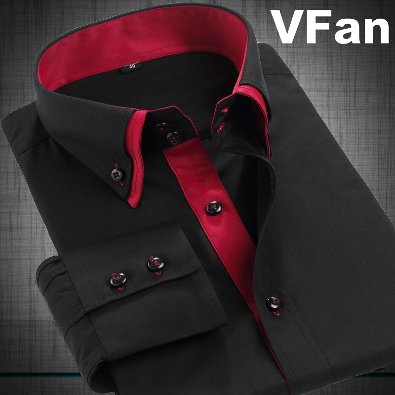 Men Printing Collar Point Dress Shirts 2014 New Winter Double Collar Buckle Fashion Business Formal Slim Fit Shirts E1207(China (Mainland))