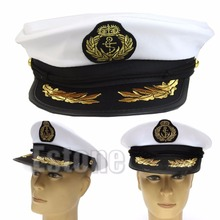 White Adult Yacht Boat Captain Navy Cap Costume Party Cosplay Dress Sailor Hat(China (Mainland))
