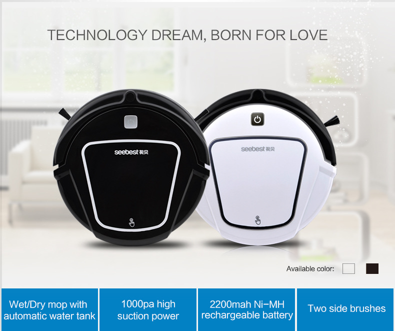 Seebest D730 Automatic Robotic Vacuum Cleaner for Home with LCD Remote Control, Automatic Water Tank(China (Mainland))