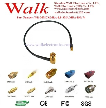 RF cable assembly / Jumper cable / Pigtails: MMCX male right angle to RP-SMA male right angle with RG174 cable