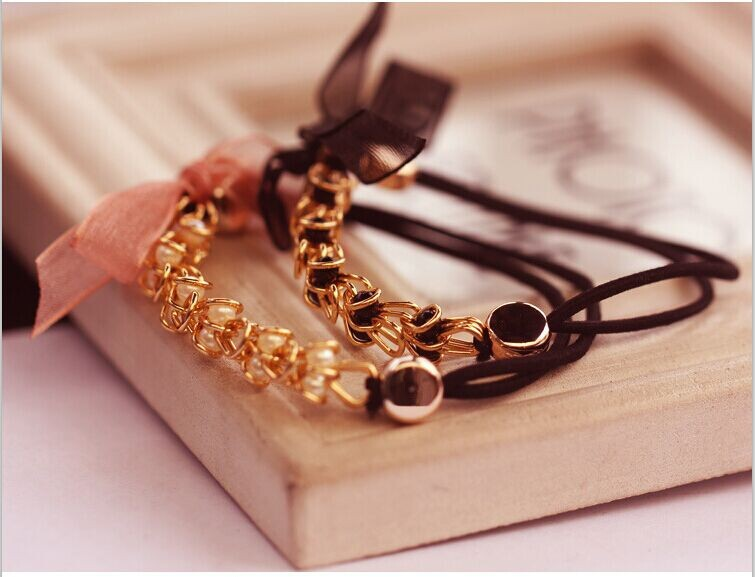 2pcs/lot Alloy Chain hair accessory Elastic Ribbon Butterfly Hair Bands W2153(China (Mainland))