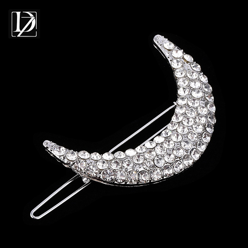 Gorgeous Shiny Full Rhinestone Hair Accessory Fashion Silver Plated Moon Hairpins Hair Clips Barrettes for Women Jewelry WF143(China (Mainland))
