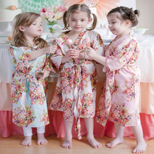 Kids Flower Gown Wedding Stain Robes For Girls Floral Silk NightGown Children's Bathrobe Bridesmaid Party Kimono Evening Gowns(China (Mainland))