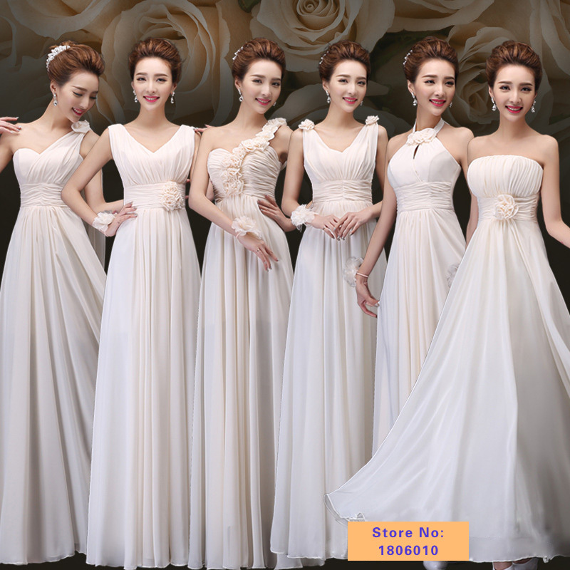 6 styles long Cheap bridesmaid dresses under 50 champagne economic dress bridesmaid Fashion Chiffon elegant party dresses(China (Mainland))