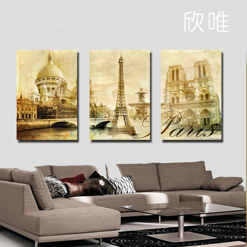 Free shipping canvas painting 3panels wall art world architecture canvas art home decor modern Home decor wall art contemporary