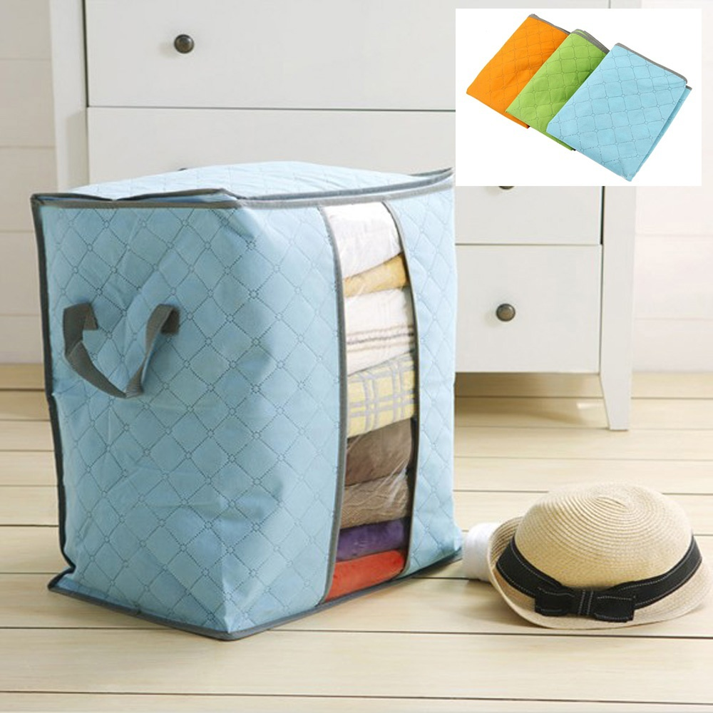 Hot Delicate Bamboo Charcoal Clothing Storage Bag Quilt Storage Cases Bedding Organizer Non-Wooven Bag Hot Selling Home Storage(China (Mainland))
