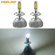 Buy FEELDO 2Pcs Super Bright H7 6000K White 60W 6400LM Car COB LED Headlight Kit Fog Lamp Bulbs Xenon Light #FD-2402 for $16.42 in AliExpress store