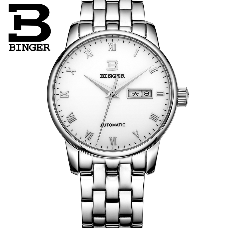 BINGER Switzerland watches men luxury brand double calendar automatic mechanical stainless steel hollow silver relogio masculino<br><br>Aliexpress