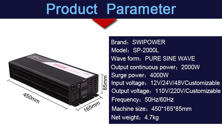 2000w Pure Sine Wave Solar Power Inverter Dc 12v 24v 48v