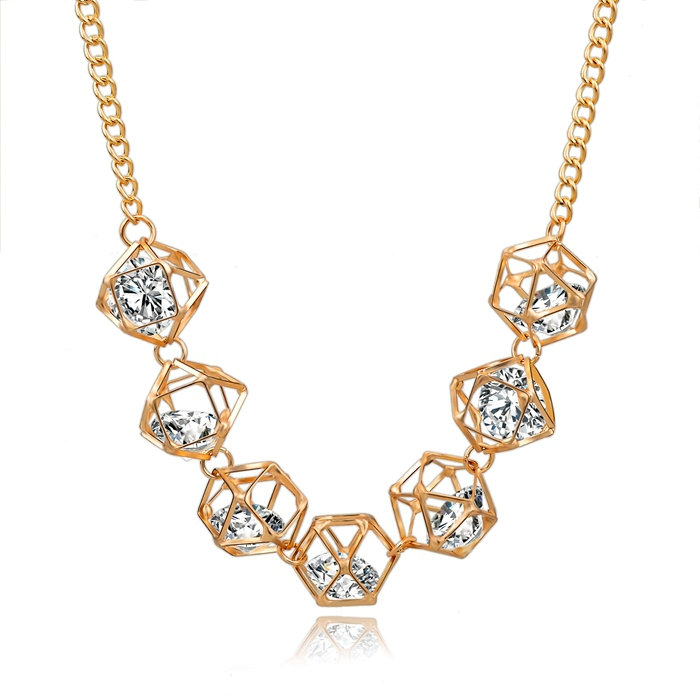 Luxury Gold Filled Statement Necklace 2015 Fashion Crystal Jewelry Vintage Necklaces & Pendants Women Accessories SNE150008(China (Mainland))
