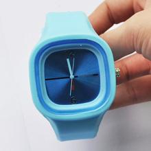 Free Shipping New Blue Luxury Silicone Jelly Watch Wristband Women Lady Girl Wirst(China (Mainland))