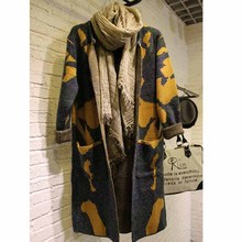 MOON WALK Long Sleeve Sweater Women 2016 Autumn Winter Fashion New Camouflage Long Knitted Female Cardigan Women's Trench ZY682(China (Mainland))