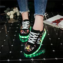 7ipupas 27-44 USB טעינה אופנה LED נעל 2018 חדש גרפיטי זוהר sneaker עבור ילד ילדה ילד יוניסקס זוהר אור עד נעלי ספורט(China)