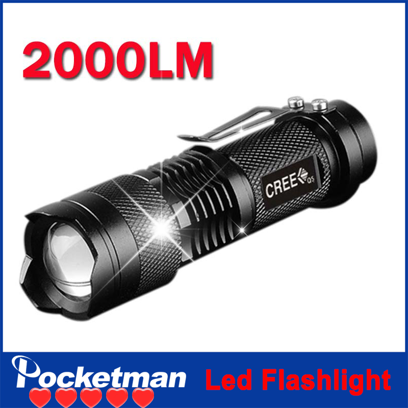 zk60 Hot Sale Rushed Camp Mini Led Flashlight Torch 7w 2000lm Cree Q5 Adjustable Focus Zoom Light Lamp Free Shipping Wholesale(China (Mainland))