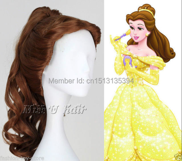 queen Wavey Movie Beauty the Beast Belle Curly Anime Cosplay Wig with Ponytail Synthetic Kanekalon Fiber no lace Hair full Wigs(China (Mainland))