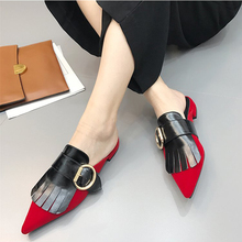 Buy Sandals women summer Suede slippers tassels fashion Pointed toe womens leather slippers metal buckle women flat heel shoes for $22.82 in AliExpress store
