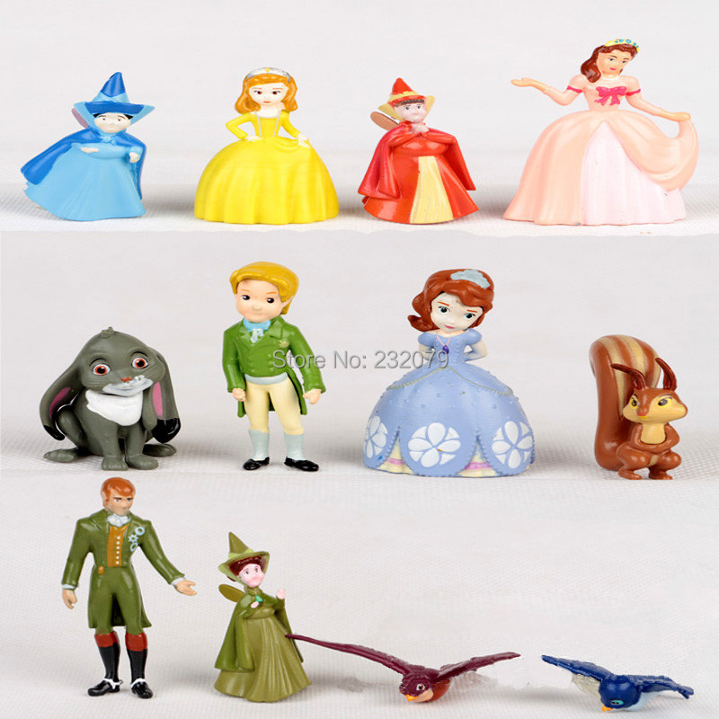 12 Pcs/Set Princess Sofia First Dolls Anime Pvc Miniature Toy Action Figures Kids Baby Toys Girls Children Birthday Gift - Store store