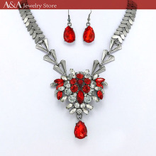 Elegant Necklaces Black And Red Rhinestone Necklaces For Women Fine Jewelry A&A High Quanlity Wholesale Set(China (Mainland))