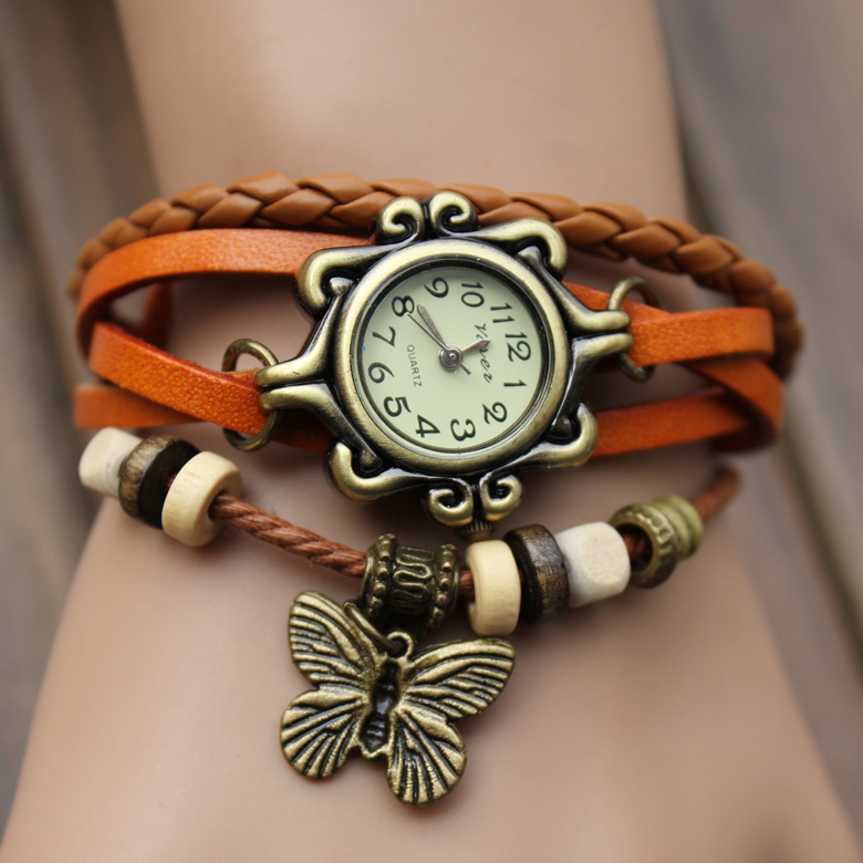 relogio feminino Original High Quality Women Genuine Leather Vintage Watches Bracelet Wristwatches butterfly Pendant(China (Mainland))