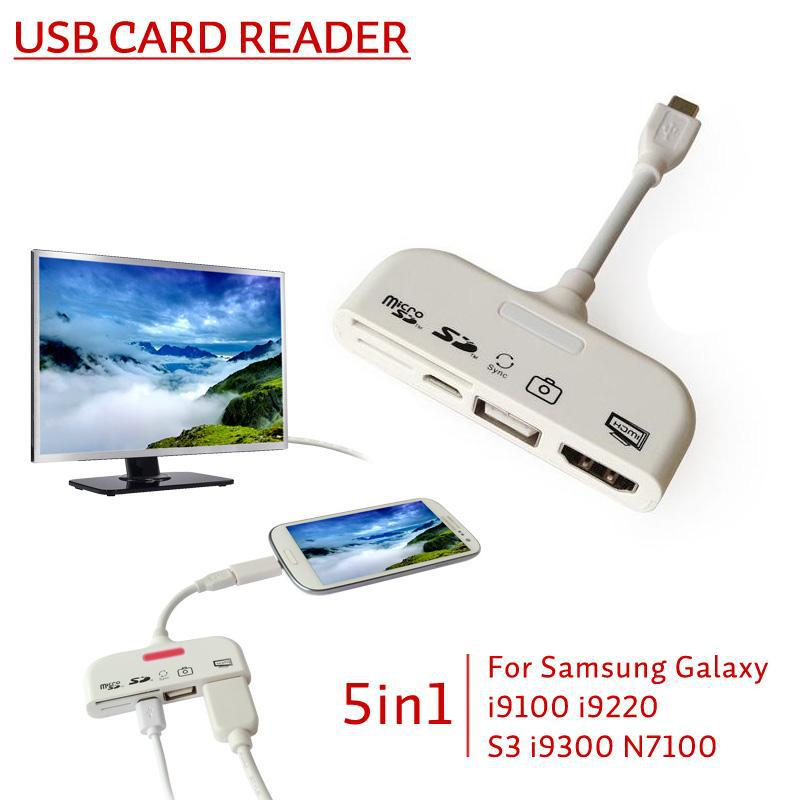 5 in1 Micro USB MHL to HDMI HDTV Adapter Connector Connection Kit + TF SD Card Reader +OTG Data Cable for Samsung S3 S4 Note 2 3(China (Mainland))