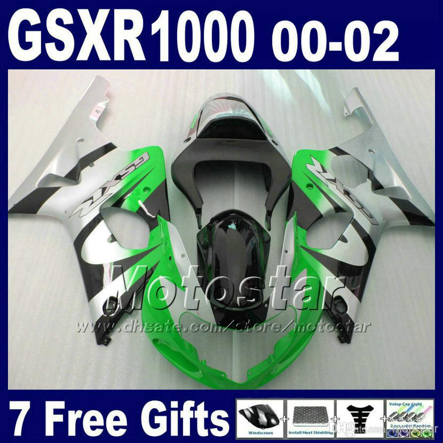 Motorcycle bodywork for SUZUKI GSXR1000 K2 2000 2001 2002 silver green black ABS fairing kit GSXR 1000 00 - 02 with 7 gifts SA9(China (Mainland))