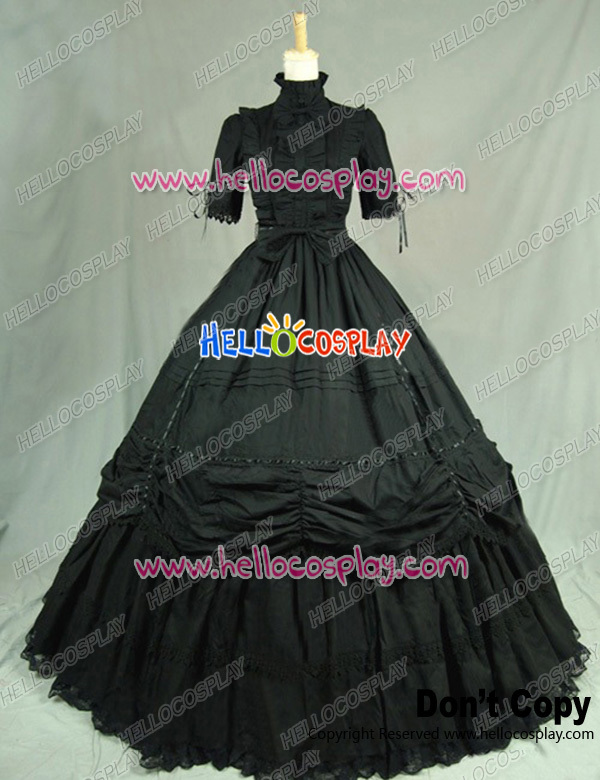 Victorian Gothic Black Ball Gown Reenactment Steampunk Punk Lolita Dress Costume H008