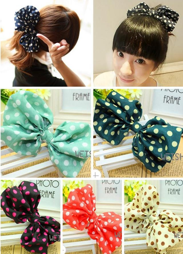 New 2015 Korean Kawaii Big Rabbit Ear Bow Headband Ponytail Holder Hair Tie Bands