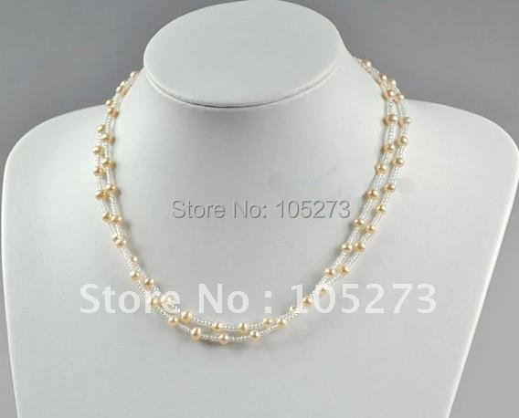 Charming Pearl Necklace 18inch Simple Light Pink Freshwater Pearl Necklace AA 3-7MM Fashion Pearl Jewelry New Free Shipping<br><br>Aliexpress