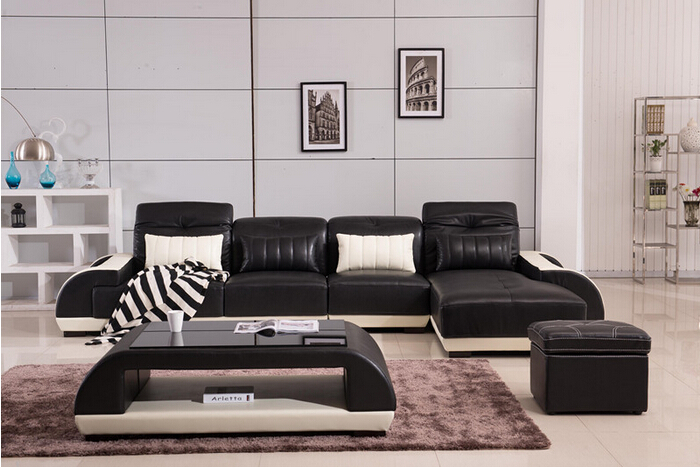 Lizz genuine leather modern corner sofas uk sofa black and for Black and white living room set