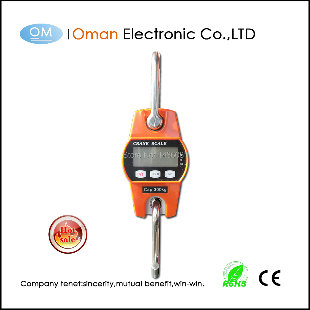 Mini 400kg weighing scale  with white back light mini crane scale T300 300kg hanging scale with large LCD display