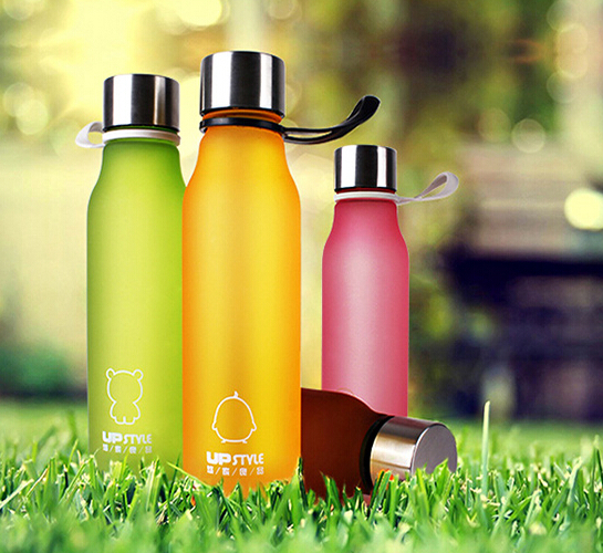 High qulity orange sports and outdoors cup plastic water bottle drop resistance creative scrub bottle glass free shipping(China (Mainland))