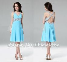 (MT-19)Fashionable Spaghetti Strap Backless A-line Sky Blue Sexy Party Sequin Dresses(China (Mainland))