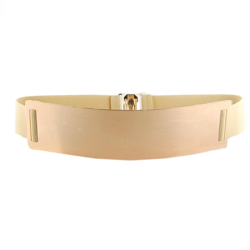 1pc Women Ladies Waist Hip Wide Gold Metal Plate Fashion Belt Elastic Waistband Decoration(China (Mainland))