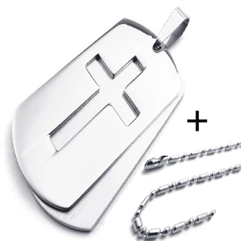 Cross Dog Tag Necklace 316L Stainless Steel fashion jewelry ,60cm chain Titanium steel - Paul Fashion Jewelry store
