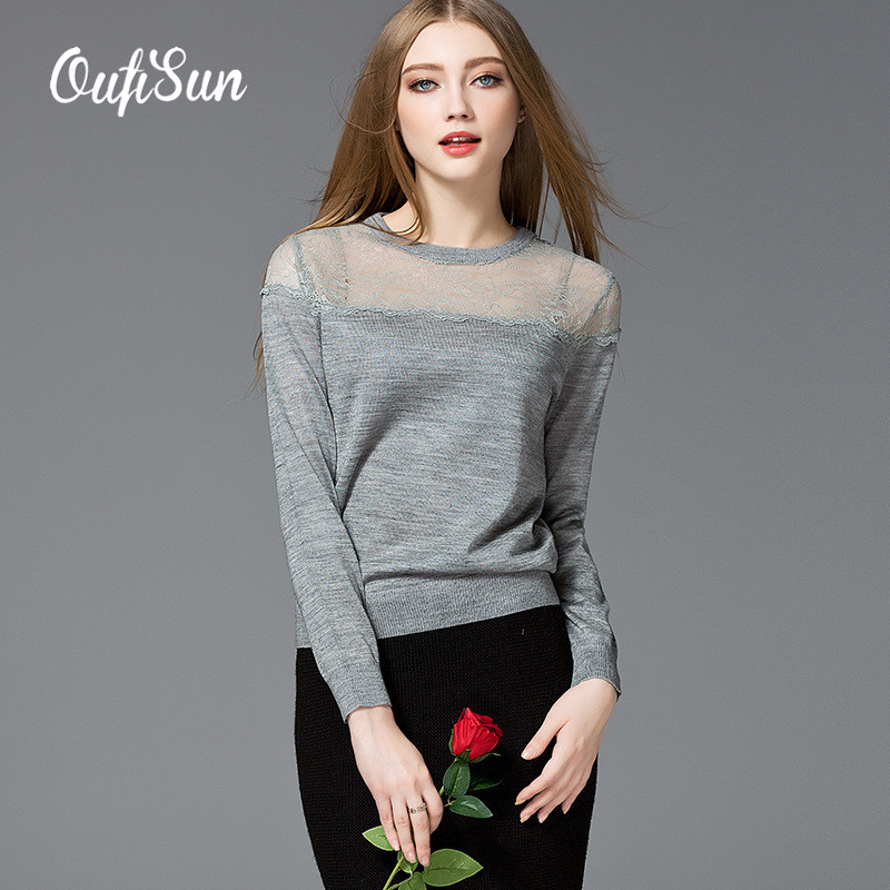 2016 Autumn new women's sweater, hot selling solid lace stitching knitted sweaters, fashion Slim show thin sweater(China (Mainland))
