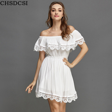 Buy CHSDCSI Fashion Women Elegant Vintage Sweet Lace White Dress Stylish Sexy Slash Neck Casual Slim Beach Summer Sundress Vestidos for $6.90 in AliExpress store