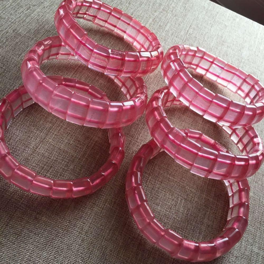 100% Natural Genuine Mozambique Rose Quartz Crystal Rectangle Beads Jewelry Women Stretch Charm Bracelets(China (Mainland))