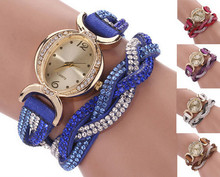 2015 new Two Tone Rhinestone Wrap Faux Suede Round Dial Quartz Bracelet WristWatches women Casual Watches