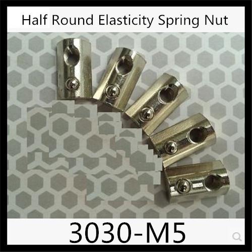 Гаджет  1pcs M5 Roll-in T Slot Nut /  M5 Half Round Elasticity Spring Nut  Block for 3030 Aluminium Profile Slot Groove 8 None Аппаратные средства