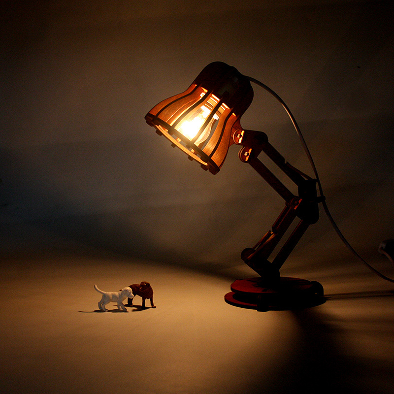 Creative Wooden Lamp Pixar Lamp Diy Desk Table Lamp
